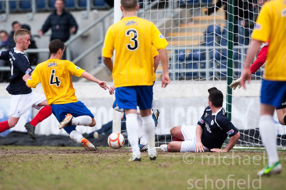 Falkirk's Craig Sibbald (left) scoring their second goal..Falkirk 4 v 0 Cowdenbeath, 6/4/2013..©Michael Schofield..