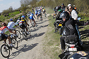 France, Sunday 12th April 2015: Images from the Pont Gibus section of pave during the 2015 edition of the Paris Roubaix elite men's cycle race.