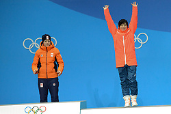 February 15, 2018 - Pyeongchang, South Korea - MIHO TAKAGI of Japan celebrates getting the bronze medal in the Ladies' 1000m speed skating event in the PyeongChang Olympic games. (Credit Image: © Christopher Levy via ZUMA Wire)