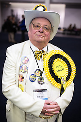 © Licensed to London News Pictures . 13/02/2014 . Manchester , UK . Monster Raving Loonies arrive - Howling Laud Hope . The count for the Wythenshawe and Sale East by-election , at Manchester Central this evening . Photo credit : Joel Goodman/LNP