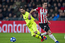 November 28, 2018 - Eindhoven, Netherlands - Lionel Messi of Barcelona and Nick Veirgever of PSV fight for the ball during the UEFA Champions League Group B match between PSV Eindhoven and FC Barcelona at Philips Stadium in Eindhoven, Netherlands on November 28, 2018  (Credit Image: © Andrew Surma/NurPhoto via ZUMA Press)