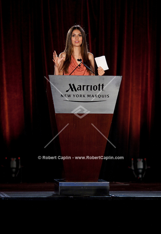 Actress and singer Victoria Justice at the Marriott Hotel in New York delivering a speech at a Nickelodeon staff town hall meeting during Fall Fashion week 2011. ..Photo by Robert Caplin.