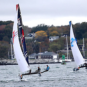 NEWPORT, RHODE ISLAND- OCTOBER 22:  The Japanese team of Issei Fujiki and Shinichiro Yano, (left) and the Turkish team of Ibrahim Balanli and Yasar Doga Aribas in action during the Red Bull Foiling Generation World Final 2016 on October 22, 2016 in Narragansett Bay, Newport, Rhode Island. (Photo by Tim Clayton/Corbis via Getty Images)