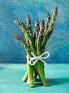 bunch of fresh asparagus spears.