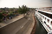 Cruise ship docked..Nile River..Kom Ombo, Egypt