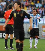 FOOTBALL - FIFA WORLD CUP 2010 - 1/4 FINAL - ARGENTINA v GERMANY - 3/07/2010 - CARLOS TEVEZ (ARG)<br /> PHOTO FRANCK FAUGERE / DPPI