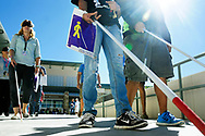 """Robin Zielinski – Sun-NewsMany participants navigate an outdoor walking course while wearing sleeping masks and white canes on Wednesday at Doña Ana Community College during White Cane Day. Pictured left is Thea Kavanaugh, Las Cruces Public Schools recreational therapist, """"This is great, by doing this, I can learn more about students with visual disabilities,"""" said Kavanaugh."""