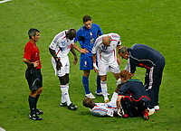 Photo: Glyn Thomas.<br />Italy v France. FIFA World Cup 2006 Final. 09/07/2006.<br /> France's Patrick Vieira is injured.