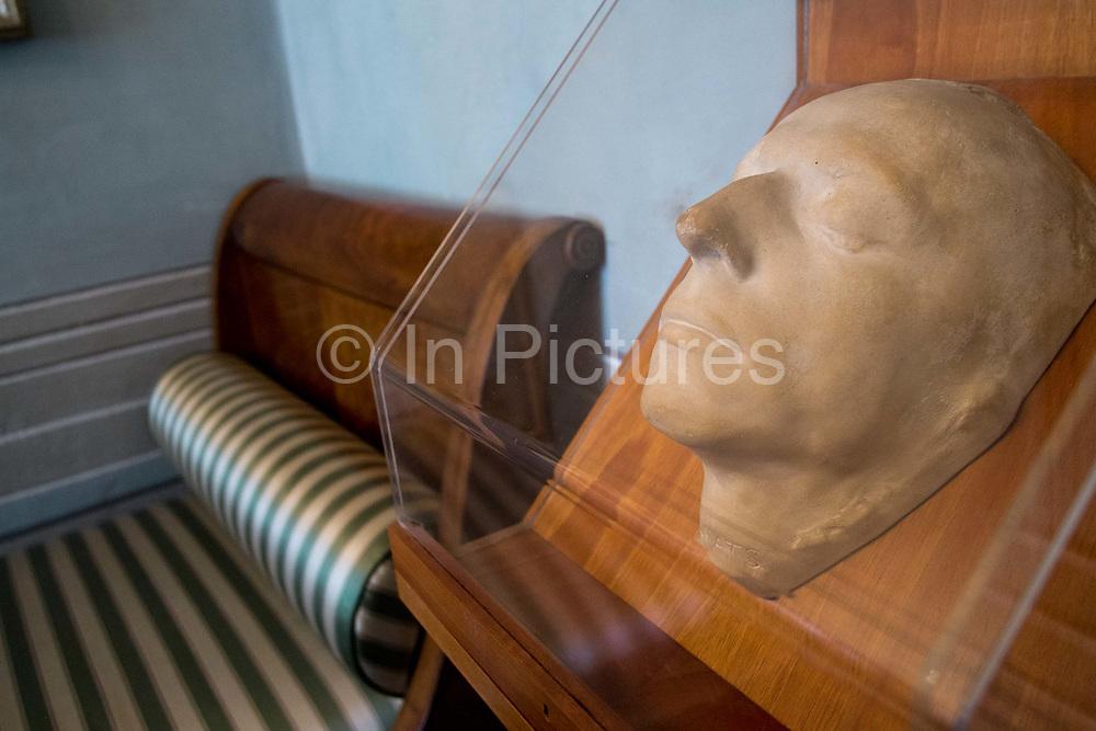 Keats bedroom and death mask, Keats Shelley museum, Rome, Italy.