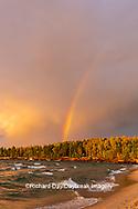 64795-03411 Lake Michigan shore at sunset and rainbow Alger Co. MI