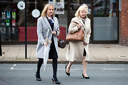 © Licensed to London News Pictures. 22/11/2017. Wakefield, UK. Left to right Denise Courtney & Sheila Connor (sisters of Ann Maguire) arrive at Wakefield Coroners Court this morning for the Ann Maguire inquest. Mrs Maguire, a 61 year old Spanish teacher, was stabbed to death by Will Cornick at Corpus Christi Catholic College in Leeds in April 2014. The school pupil, who was 15 at the time, admitted murdering Mrs Maguire and was given a life sentence later that year. Since then, some of Mrs Maguire's family have campaigned for further investigation into her death as they believe more could have been done to prevent the tragedy. Photo credit: Andrew McCaren/LNP