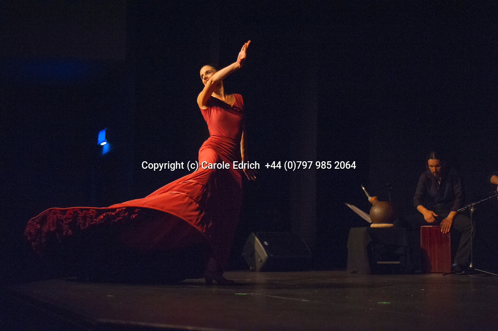 (c)  31/07/2014. London. England. Dot Dot Dot, a flamenco company tours England from Spain. Comprised of three English dancers Noemi Luz, Magadalena Mannion and Yinka Esi Graves, percussionist Rafael Casado, guitarist Liam Howarth and singer Anna Colon these talented dancers are exceptionally popular with those in the UK who know flamenco. The production runs until 01/08/14 and is followed by flamenco classes. Photo credit Carole Edrich