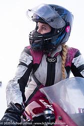 Computer engineer for work, super bike racer for fun, Katya (Ekaterina Kolpakova) on Mashka, her Yamaha r3 racer at the Baikal Mile Ice Speed Festival. Maksimiha, Siberia, Russia. Thursday, February 27, 2020. Photography ©2020 Michael Lichter.