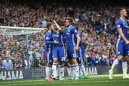 Chelsea midfielder Eden Hazard (10) celebrates during the Premier League match between Chelsea and Sunderland at Stamford Bridge, London, England on 21 May 2017. Photo by John Potts.