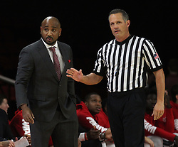 November 14, 2017 - Oxford, Ohio, U.S - Miami (Oh) Redhawks head coach Jack Owens  talk about a call on Tue Nov 14, 2017. During play with Wright State Raiders in Oxford,Ohio. As his team goes on the win in overtime play 73 to 67. (Credit Image: © Ernest Coleman via ZUMA Wire)