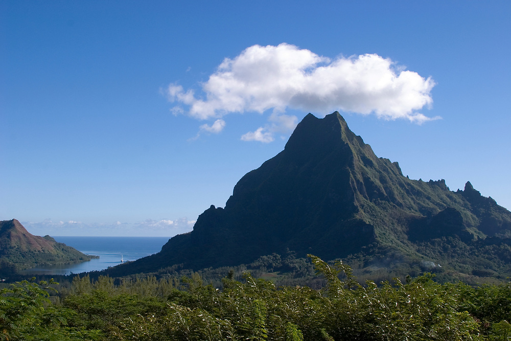 View of Cooks Bay and Mount Rotui from the Belvedere, Moorea, French Polynesia