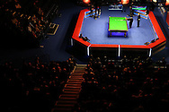 a general view as Mark Williams of Wales plays a shot during his 1st round match against Elliot Slessor of England. Coral Welsh Open Snooker 2017, day 2 at the Motorpoint Arena in Cardiff, South Wales on Tuesday 14th February 2017.<br /> pic by Andrew Orchard, Andrew Orchard sports photography.