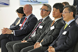 Team GB Chef de Mission Mike Hay (second left), and British Paralympics Association CEO Tim Hollingsworth (third left) and the South Korean Ambassador to the UK Joonkook Hwang (right), during the press conference to announce the UK Sport medal target for the Winter Olympics and Paralympics at the Korean Cultural Centre UK in London.