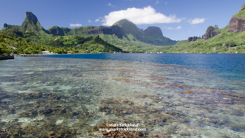 Cook's Bay, seen from the dock of Hotel Kaveka, Baie de Cook, Pao Pao, Moorea, French Polynesia