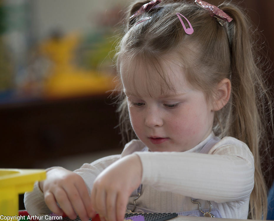 NO FEE PICTURES 23/4/19 Juliana Gayson, age 4, Inchicore at the Housing, Art and The Envoirnment Childrens workshop at Richmond Barraks in Inchicore, as part of the Vienna Model of Housing Exhibition Picture:Arthur Carron