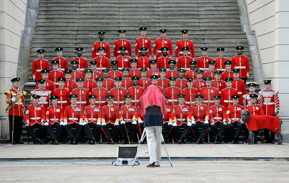 © under license to London News Pictures. LONDON, UK  28/04/2011. The Royal Wedding of HRH Prince William to Kate Middleton. The Irish Guards have a regimental photograph taken the day before they go on duty for the Royal Wedding (28/04/11) Photo credit should read Stephen Simpson/LNP.