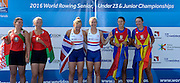 Rotterdam. Netherlands.  Rotterdam. Netherlands.  Gold medalist A Finals,  GBR BW2X. Gold medalist, GBR BW2X, right. Mathilda Hodgkins-Byrne  and Jessica Leyden, 2016 JWRC, U23 and Non Olympic Regatta. {WRCH2016}  at the Willem-Alexander Baan.   Thursday  25/08/2016 <br /> <br /> [Mandatory Credit; Peter SPURRIER/Intersport Images] Awards Dock 2016 <br /> <br /> [Mandatory Credit; Peter SPURRIER/Intersport Images]