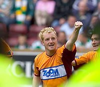 """Motherwell v Celtic, Scottish Premier League, Fir Park, Motherwell.  Pic ian Stewart, Saturday 30th July 2005<br /> Brian Kerr celebrtaes the equaliser for """"well"""