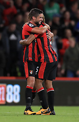 AFC Bournemouth's Andrew Surman and Nathan Ake (right) celebrate victory after the final whistle of the Premier League match at the Vitality Stadium, Bournemouth.