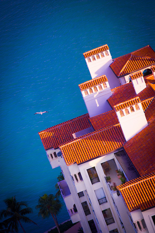 Seen from a helicopter, a bird soars over luxury condos and Biscayne Bay at Florida's Fisher Island resort near Miami