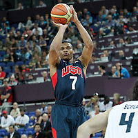 10 August 2012: USA Russell Westbrook takes a jumpshot during 109-80 Team USA victory over Team Argentina, during the men's basketball semi-finals, at the North Greenwich Arena, in London, Great Britain.
