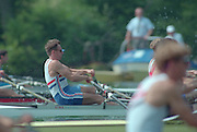 Lucerne, Switzerland. 1995 FISA WC III, Lake Rotsee, Lucerne,<br /> GBR LM2X. Bow. Peter HAINING, at the start of their heat. Men's lightweight Double Sculls<br /> [Mandatory Credit. Peter SPURRIER/Intersport Images]<br /> <br /> Image scanned from Colour Negative