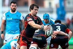 Rhodri Williams of Dragons box kicks<br /> <br /> Photographer Simon King/Replay Images<br /> <br /> Guinness PRO14 Round 12 - Dragons v Ospreys - Sunday 30th December 2018 - Rodney Parade - Newport<br /> <br /> World Copyright © Replay Images . All rights reserved. info@replayimages.co.uk - http://replayimages.co.uk