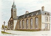 Randon Images of postcard drawings from Ireland, royal hospital, Kilmainham, MOMO, Old amateur photos of Dublin streets churches, cars, lanes, roads, shops schools, hospitals