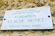 Sign at Claude Monet house and gardens, Giverny, France
