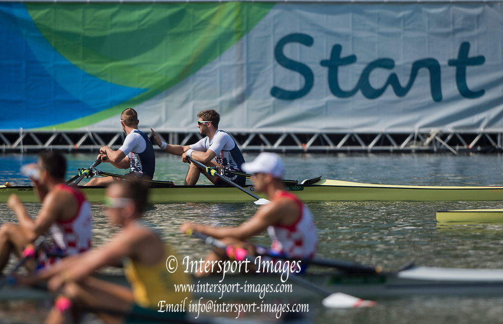 "Rio de Janeiro. BRAZIL.   GBR M2X. Semi Final A/B. bow, Jonny WALTON and John COLLINS. 2016 Olympic Rowing Regatta. Lagoa Stadium,<br /> Copacabana,  ""Olympic Summer Games""<br /> Rodrigo de Freitas Lagoon, Lagoa.   Tuesday  09/08/2016 <br /> <br /> [Mandatory Credit; Peter SPURRIER/Intersport Images]"