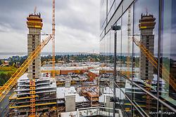 USA, Washington, Bellevue. Skyscraper construction downtown.