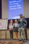 Purchase, NY – 31 October 2014. Part of the team from Woodlands High School. (Left to right:  Alex Jarmatz, Jillian Berridge, Awa Nymabi, Akibo Watson.) Woodlands High School went on to place second in the 2014 competition. The Business Skills Olympics was founded by the African American Men of Westchester, is sponsored and facilitated by Morgan Stanley, and is open to high school teams in Westchester County.