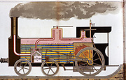 Sectional view of a mid-19th century steam railway locomotive showing firebox and boiler tubes. Chromolithograph 1882.