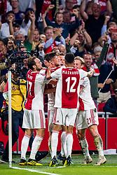 14-08-2018 NED: Champions League AFC Ajax - Standard de Liege, Amsterdam<br /> Third Qualifying Round,  3-0 victory Ajax during the UEFA Champions League match between Ajax v Standard Luik at the Johan Cruijff Arena / Matthijs de Ligt #4 of Ajax scores the 2-0, Daley Blind #17 of Ajax, Klaas Jan Huntelaar #9 of Ajax, Frenkie de Jong #21 of Ajax