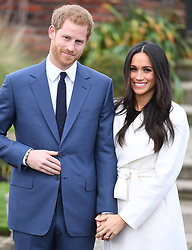 Photocall to mark the engagement of Prince Harry and Meghan Markle at The Sunken Garden, Kensington Palace, London, UK, on the 27th November 2017. 27 Nov 2017 Pictured: Prince Harry, Meghan Markle. Photo credit: James Whatling / MEGA TheMegaAgency.com +1 888 505 6342