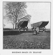 PONTOON-BOATS IN TRANSIT from the book ' The Civil war through the camera ' hundreds of vivid photographs actually taken in Civil war times, sixteen reproductions in color of famous war paintings. The new text history by Henry W. Elson. A. complete illustrated history of the Civil war