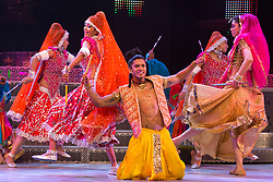 """© Licensed to London News Pictures. 29/01/2014. London, England. Picture: Sushant Pujari dancing. The show """"The Merchants of Bollywood"""" returns to the Peacock Theatre/Sadler's Wells from 28 January to 15 February 2014. Photo credit: Bettina Strenske/LNP"""