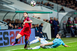 Bojan Jokic of Slovenia and Kyle Walker of England during football match between National teams of Slovenia and England in Round #3 of FIFA World Cup Russia 2018 qualifications in Group F, on October 11, 2016 in SRC Stozice, Ljubljana, Slovenia. Photo by Grega Valancic / Sportida