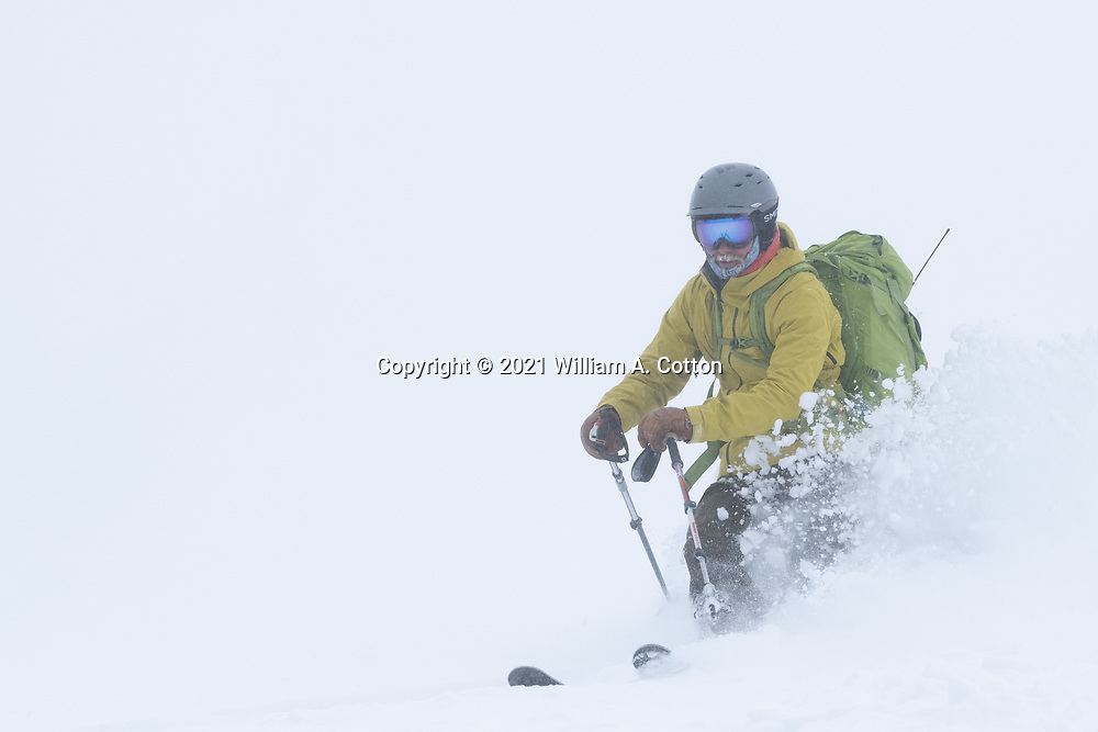 Diamond Peaks Ski Patrol member Mac Fuller skis in whiteout conditions near Montgomery Pass, Feb. 6, 2021.