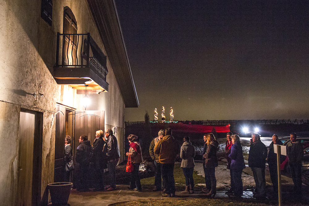 Iowans wait in line to caucus during the Oak Township and St. Mary's Township GOP caucus at Bella Terre Reception Hall & Vineyard on Monday, Feb. 1, 2016, in rural Glennwood, Iowa.