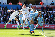 Fernando Llorente of Swansea city (l) scores his teams 1st goal.  Premier league match, Swansea city v Stoke City at the Liberty Stadium in Swansea, South Wales on Saturday 22nd April 2017.<br /> pic by Andrew Orchard, Andrew Orchard sports photography.