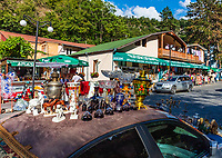 Borjomi , Georgia - August 12, 2019 : Tourist shopping street of Borjomi Samtskhe Javakheti region Georgia eastern Europe