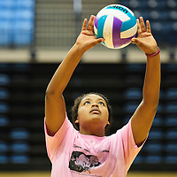 062314  Adron Gardner/Independent<br /> <br /> Summer Powell lines up a volley during the lady Scout volleyball camp at the Stronghold Events Center in Fort Defiance Monday.