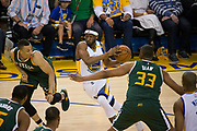 Golden State Warriors guard Ian Clark (21) takes the ball to the basket against the Utah Jazz during Game 1 of the Western Conference Semifinals at Oracle Arena in Oakland, Calif., on May 2, 2017. (Stan Olszewski/Special to S.F. Examiner)