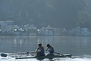 Marlow, United Kingdom, GBR W2- Bow; Dot BLACKIE and Cath BISHOP, Training session women's rowing squard, River Thames, Longridge Scout Camp, summer, 1997 [ Mandatory Credit; Peter Spurrier/intersport Images] 1997 Women's Squard Training, Longridge Scout Camp,